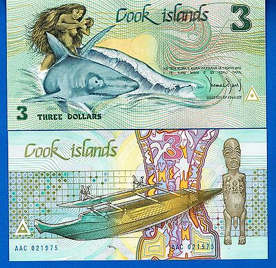 Cook Islands P-3 Three Dollars Year ND 1987 Uncirculated Banknote Free Shipping