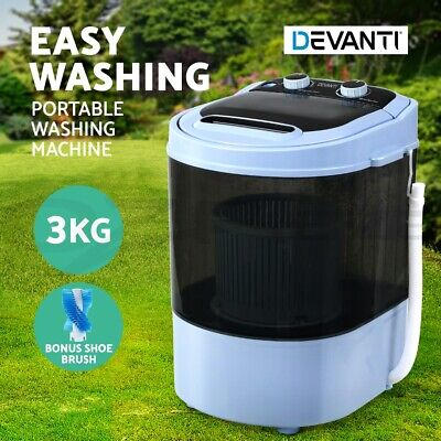 Devanti 4KG Mini Portable Washing Machine Top Load 2 In 1 Spin Dry Camp Caravan
