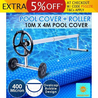 Solar Swimming Pool Cover Roller Wheel 400 Micron Outdoor Blanket Bubble 10 X 4m
