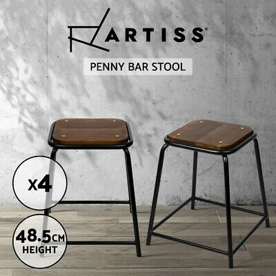 4x Vintage Paddington Bar Stool Retro Mason Industrial Dining Chair Steel