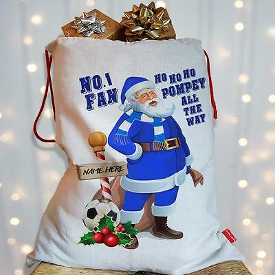 Personalised Portsmouth Christmas Sack Santa Football Xmas Stocking gift Bag
