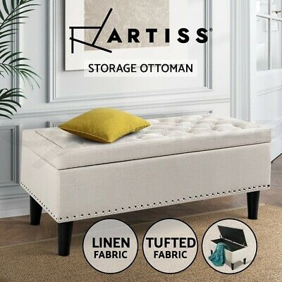 Blanket Box Storage Ottoman Linen Fabric Chest Foot Stool Bench Stud Taupe