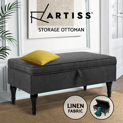 Artiss Blanket Box Storage Ottoman Linen Fabric Chest Foot Stool Bed Couch Grey