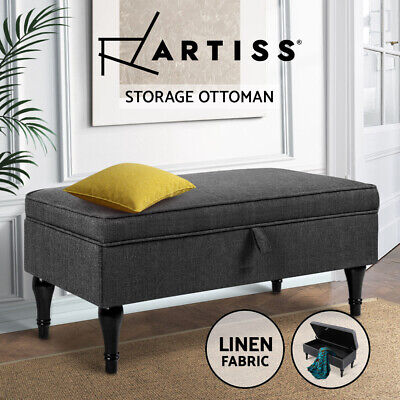Blanket Box Storage Ottoman Linen Fabric Chest Foot Stool Bed Couch Grey