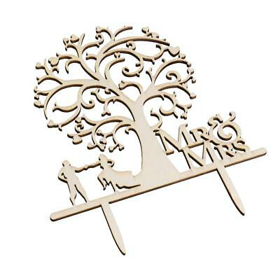 Wooden Couple gâteau Topper Arbre Bride and Groom Mr & Mrs Wedding Favors