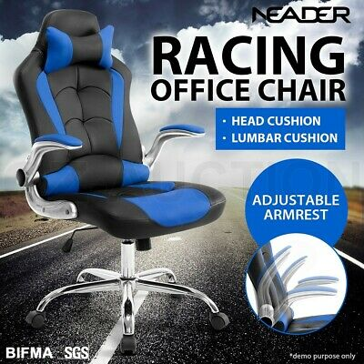 Executive Office Racing Chair Gaming Computer Seat PU Leather Removable Headrest