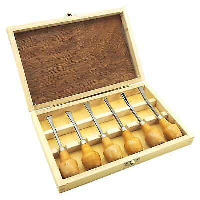 """Woodworking Chisels Carbon Steel Wood Carving Hand Tools 5 1/4"""" 6Pcs"""