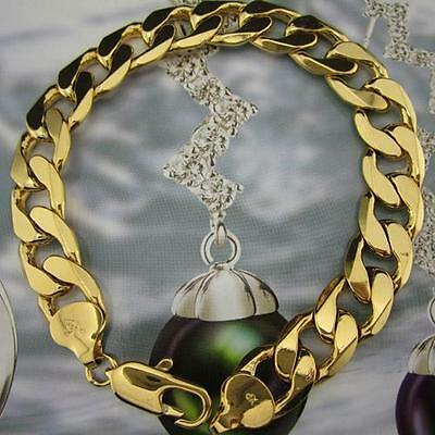 STAMPED 9KGL Men's Heavy Bracelet 14ct real Yellow Gold Filled Bracelet Chain