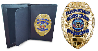 Concealed Weapons Permit Metal Badge & Wallet  Gold