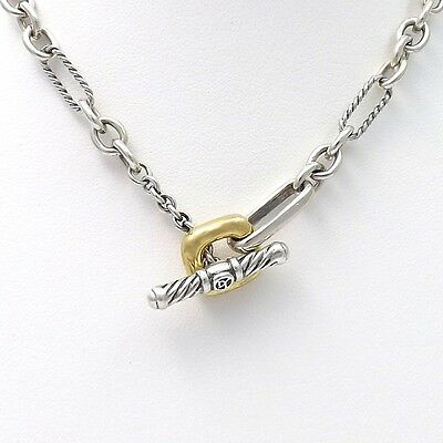 David Yurman 18K Gold Toggle Sterling Silver Oval Figaro Link Chain Necklace 16""
