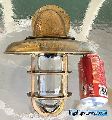 Marine Brass Ship Passageway Light With Deflector Cover - Weathered - Lot A