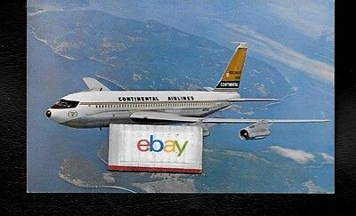 Continental Airlines Boeing 720B Golden Jet Airline Issue 4/1964 Postcard