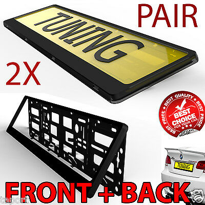2x Black Hinged Car Number Plate Surround Holder FOR ANY CAR TRUCK VAN TRAILER