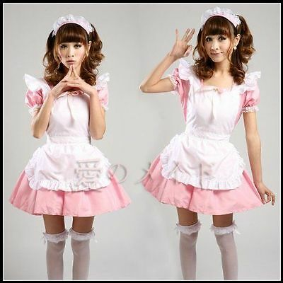 Pink Japanese Maid Uniform Costume Lolita Dress for Halloween Cosplay Party