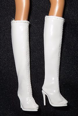 *shoes ~ Barbie Doll Andy Warhol Model Muse White Faux Leather Below Knee Boots