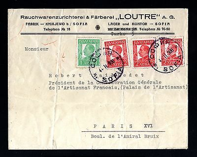 13368-BULGARIA-OLD COVER SOFIA to PARIS (france).1938.WWII.Bulgarie.Brief.