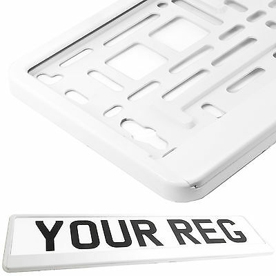 SUPER WHITE Car Number Plate Surround Holder FOR ANY CAR, TRUCK VAN TRAILER CAR