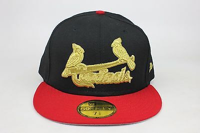 d6244de3a6e56 St. Louis Cardinals Black   Red Lid   Gold Logo New Era 59Fifty Fitted Hat