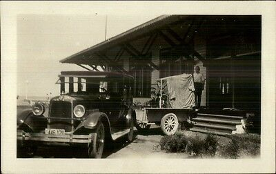 Old Car w/ Trailer Backed Up to House c1915 Real Photo Postcard