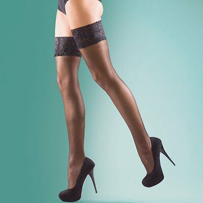 Silky Shine Luxury Lace Top Hold Ups 15 Denier Stockings Various Colours M L Xl