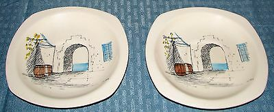 """(2) Vintage Midwinter England Riviera by Hugh Casson 6"""" Saucers - Very Good"""