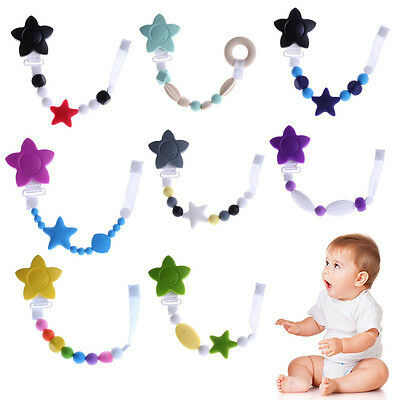 Baby Teething Soother Pacifier Clip Beads Silicone  Soother Nipple Strap Chain