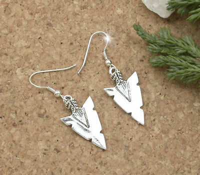 Horse Western Jewellery Jewelry Ladies Womens  Native Arrow Head Earrings Silver