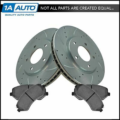Nakamoto Performance Brake Rotor Drilled Slotted Front Coated Pair for Cadillac