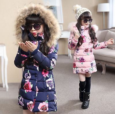 Kids Girls Long Floral Padded Coat Hooded Fur Collar Cotton Down Jacket Parkas