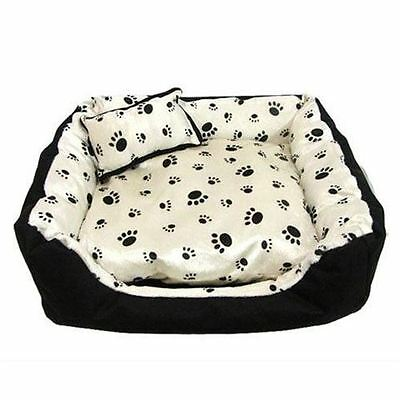 X Display Satin Soft Pet Bed Clearance - Black Paw Print On Cream - Medium