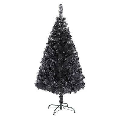 Bushy 6ft 1.8m Artificial Christmas Tree BLACK with Metal Stand Xmas Decorations