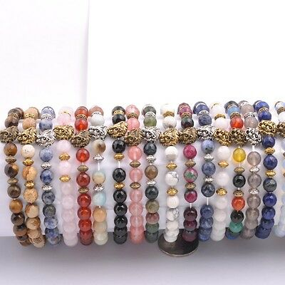 Wholesale 8MM Natural Gemstone Round FACETED Beads Buddha Head Stretchy Bracelet