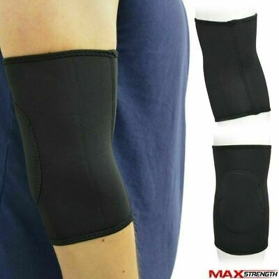 Maxstrength Black Neoprene Elbow Support Elastic Arm Pad Injury Brace Pain Guard