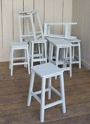 Reclaimed Wooden Stool - Distressed Painted Stools - School Seats Reclaimed