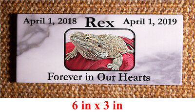 "Custom Pet Memorial Grave Marker 5""x3""x0.5"" Headstone Stone Dog Cat Horse Bird"