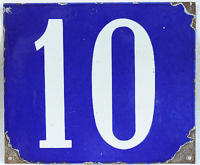 Giant old French house number 10 door gate wall plate plaque enamel steel sign
