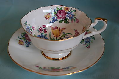 Lovely Vintage Imperial bone china cup saucer set - Yellow Tulips / Pink Roses