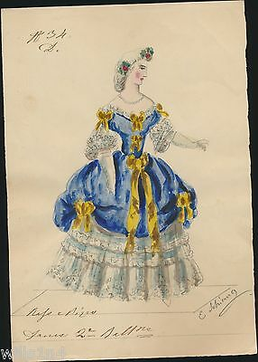 antique 19th Century Chinese Watercolor of European Woman in formal court dress