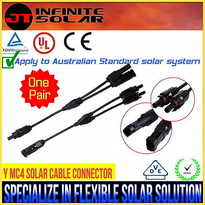 OZ STOCK@1 Pairs MC4 Y Cable Connectors Connection Plug  Solar Panel PV IP67