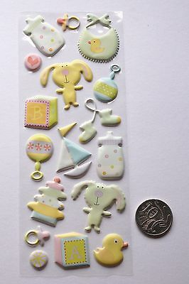Scrapbooking No 323 - 17 Small Baby Boy Or Girl Themed Raised Stickers
