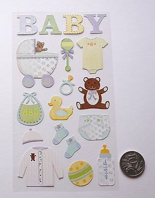 SCRAPBOOKING NO 379 - 18 Piece SMALL TO MEDIUM BABY BOY OR GIRL STICKERS