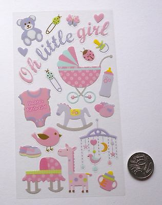 SCRAPBOOKING NO 348 - 18 Piece SMALL TO MEDIUM BABY GIRL THEMED STICKERS