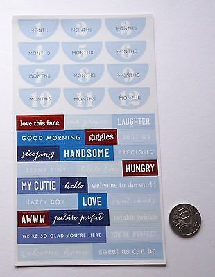 Scrapbooking No 431 - 30+ Small Die Cut Card Stock Sayings Baby Boy Stickers