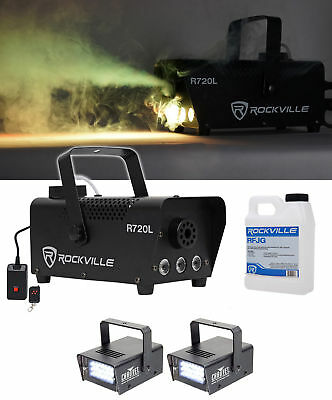 Rockville R720L LED Fog/Smoke Machine + (2) MINI STROBE LED (replaces CH-730)