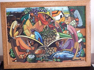 Contemporary Cuban colourful oil on canvas painting, signed and dated