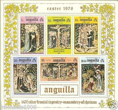 ANGUILLA - 1976 - EASTER - CRUCIFIXION - TAPESTRY - ALTAR - Mini Souvenir Sheet
