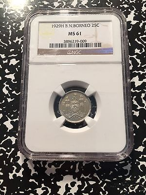 1929-H British North Borneo 25 Cent NGC MS61 Lot#G855 Silver! Scarce!