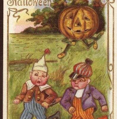 Mint.!  Children Chased By Jack 'o Lantern Man,halloween,early Whitney Postcard