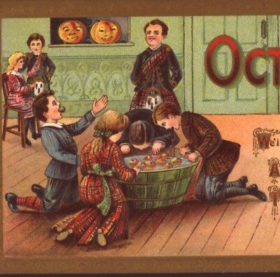 Scottish Man In Kilt Oversees Halloween Party Apple Dunk Game,oct 31St,postcard