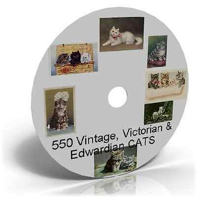 550 Vintage, Victorian & Edwardian CATS Art & Craft CD